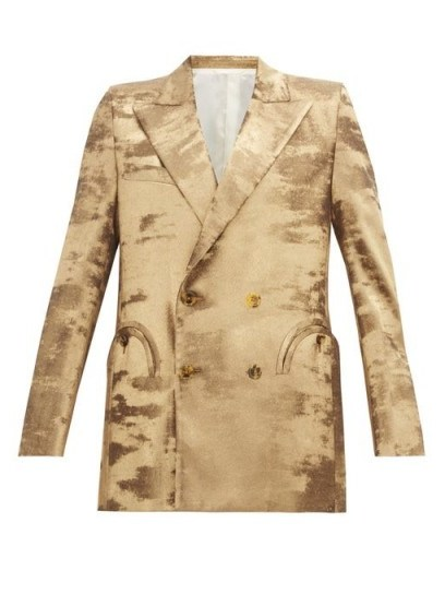 BLAZÉ MILANO Everyday double-breasted metallic jacket in gold ~ instant evening glamour - flipped
