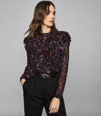 REISS FAIZA FLORAL PRINTED RUFFLE NECK BLOUSE BLACK ~ ruffled semi sheer blouses