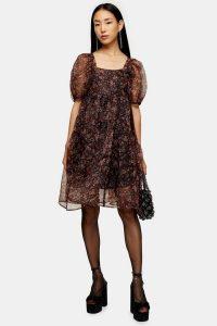 Topshop Fallen Floral Print Organza Tiered Dress – puff sleeved dresses