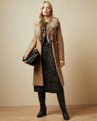 TED BAKER CORINNA Faux fur collar wrap coat in tan