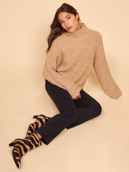 REFORMATION Fern Sweater in Camel Marled