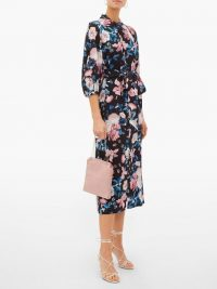 ERDEM Finnetta Bouquet-print midi dress ~ black floral dresses