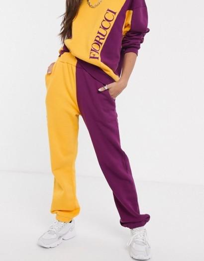 Fiorucci orange and purple colour block jogger – designer joggers
