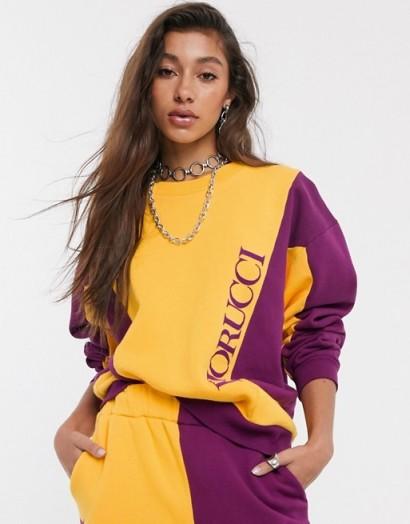 Fiorucci colour block tracksuit top orange and purple