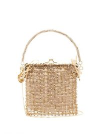 ROSANTICA BY MICHELA PANERO Flaubert crystal-embellished clutch in gold ~ luxe event bags