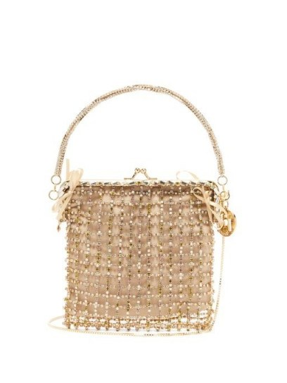 ROSANTICA BY MICHELA PANERO Flaubert crystal-embellished clutch in gold ~ luxe event bags - flipped