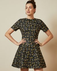 TED BAKER DIVWINE Floral jacquard skater dress in black / metallic fit and flare