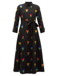 CAROLINA HERRERA Black floral-embroidered belted cotton-poplin shirtdress ~ designer shirt dresses