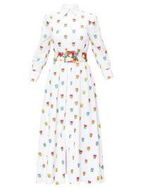 CAROLINA HERRERA Floral-embroidered belted poplin shirt dress in white