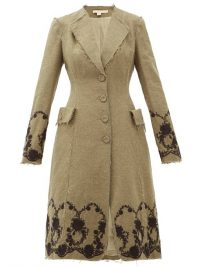 BROCK COLLECTION Floral-embroidered tweed coat in khaki-brown ~ raw edged coats