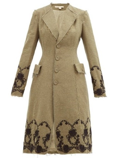 BROCK COLLECTION Floral-embroidered tweed coat in khaki-brown ~ raw edged coats - flipped