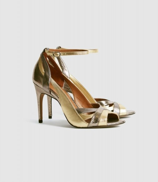 REISS FLORENCE METALLIC STRAPPY HIGH HEELED SANDALS DARK GREY ~ ankle strap evening heels
