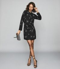 Reiss GABBY STAR EMBELLISHED MINI DRESS BLACK ~ lbd
