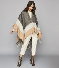 REISS GIA COLOUR BLOCK PONCHO CAMEL ~ capes ~ fringed ponchos ~ chic winter cover-up