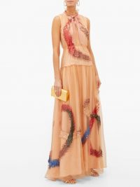 ROKSANDA Giona sequinned silk-organza gown in peach-pink ~ luxe gowns ~ feminine event wear