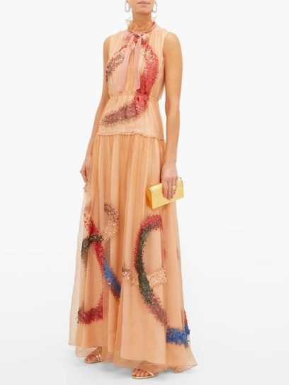 ROKSANDA Giona sequinned silk-organza gown in peach-pink ~ luxe gowns ~ feminine event wear - flipped