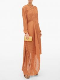 PREEN BY THORNTON BREGAZZI Glenda pleated asymmetric-hem georgette dress in tan ~ elegant event wear ~ effortless evening style