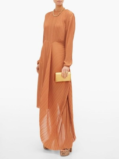 PREEN BY THORNTON BREGAZZI Glenda pleated asymmetric-hem georgette dress in tan ~ elegant event wear ~ effortless evening style - flipped