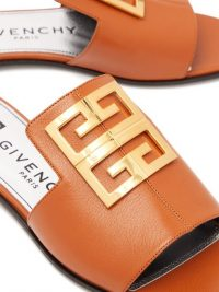 GIVENCHY 4G-logo tan-leather slides – luxury flat mules