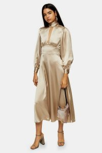 Topshop Gold Satin Maxi Dress | high neck keyhole front dresses | luxe style fit and flare