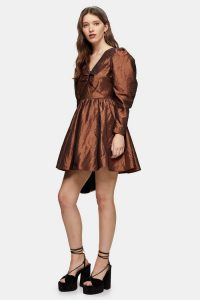 Topshop Gold V Neck Taffeta Mini Dress | flared party dresses