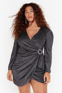 NASTY GAL Good Night Plus Wrap Dress in Black. LBD