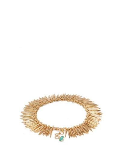 ILEANA MAKRI Grass Leaves 18kt gold bracelet ~ green stone bracelets