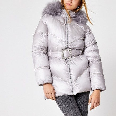 RIVER ISLAND Grey diamante embellished puffer jacket / luxe style winter jackets - flipped