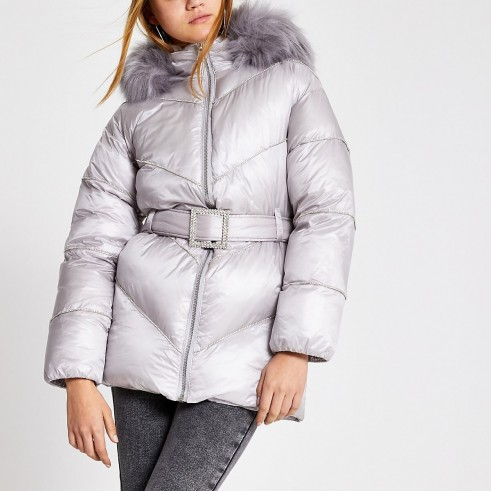 RIVER ISLAND Grey diamante embellished puffer jacket / luxe style winter jackets