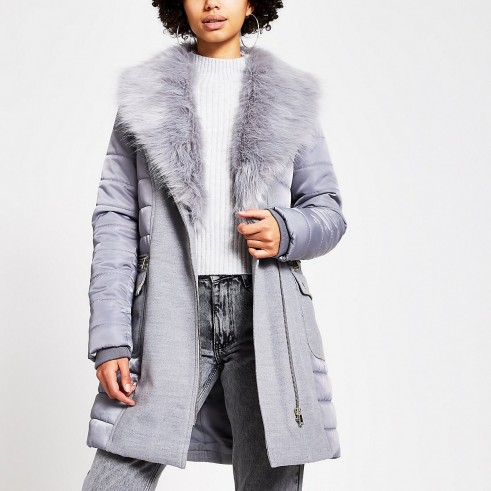 RIVER ISLAND Grey padded longline belted jacket – fur trimmed winer coat