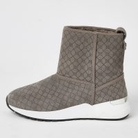 River Island Grey suede RI monogram trainer boots