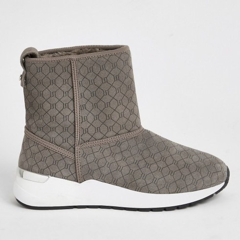 River Island Grey suede RI monogram trainer boots - flipped