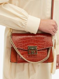 GIVENCHY GV3 small crocodile-effect leather cross-body bag in tan