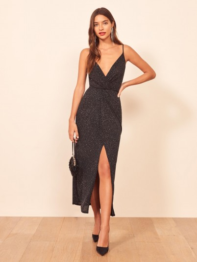 Reformation Hari Dress | strappy front plunging evening dresses