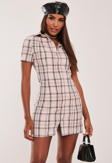 hayden williams x missguided pink check mini dress / checked shirt dresses - flipped