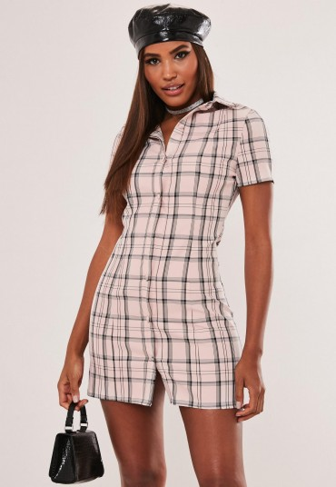 hayden williams x missguided pink check mini dress / checked shirt dresses