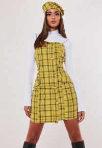 hayden williams x missguided yellow check chain strap a line dress