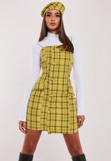hayden williams x missguided yellow check chain strap a line dress - flipped