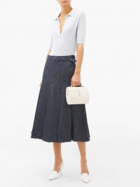 GABRIELA HEARST Herbert pleated linen-denim skirt in blue ~ midi A-line