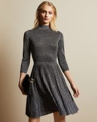 Ted Baker NOALEEN High neck mini knitted dress in gunmetal | luxe style occasion wear