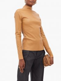 BOTTEGA VENETA High-neck leather top in camel