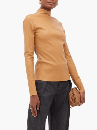 BOTTEGA VENETA High-neck leather top in camel
