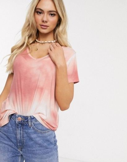 Hollister cosy slouchy t shirt pink wash / classic V-neck tee