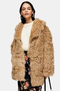 Topshop Honey Cream Shearling Coat | shaggy coats