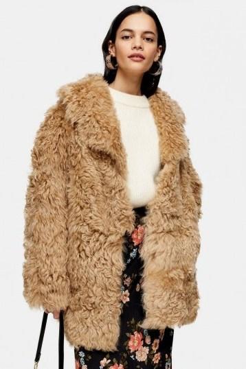 Topshop Honey Cream Shearling Coat | shaggy coats - flipped