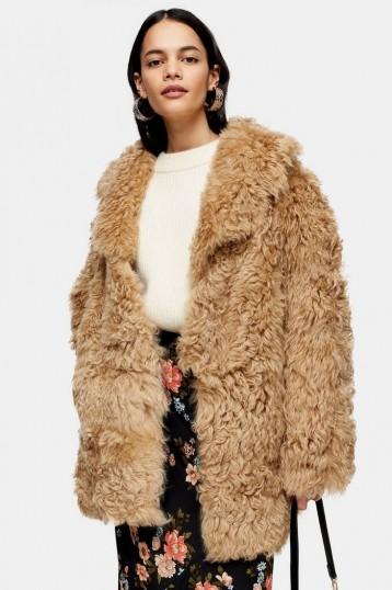 Topshop Honey Cream Shearling Coat | shaggy coats