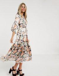 Hope & Ivy ditsy maxi dress with kimono ruffle sleeve / floaty tiered dresses