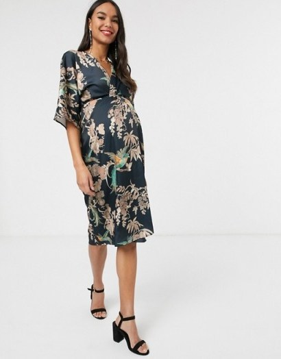 Hope & Ivy Maternity kimono wrap dress in blue floral | pregnancy dresses - flipped