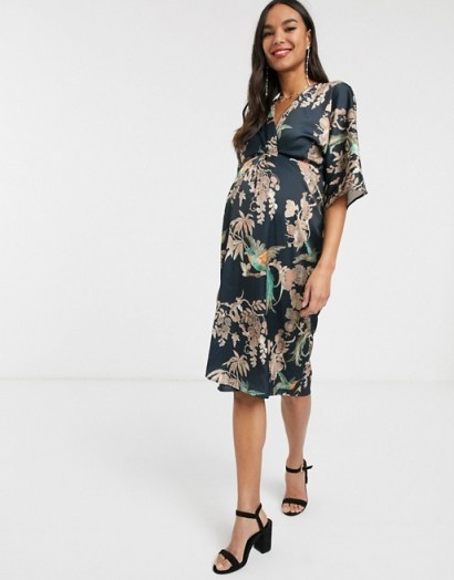 Hope & Ivy Maternity kimono wrap dress in blue floral | pregnancy dresses