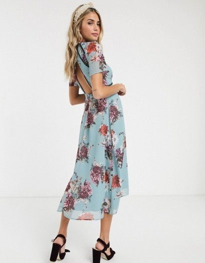 Hope & Ivy midi dress with open back in grey floral / cut-out detail dresses